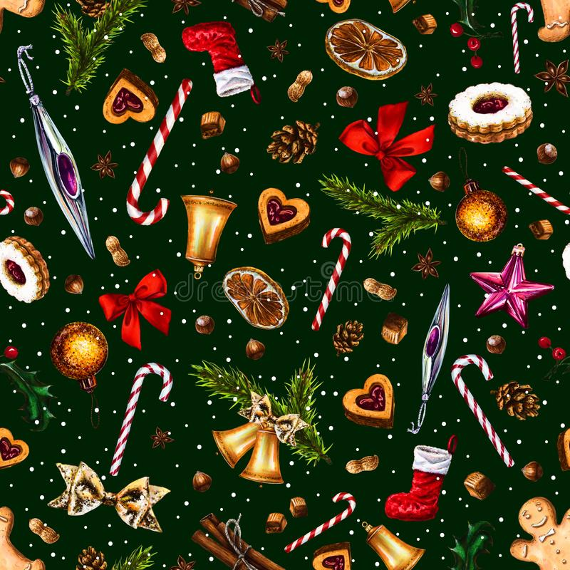 Festive seamless pattern with winter holiday attributes on dark green background. royalty free illustration