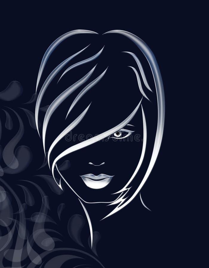 Illustration of girl. On black background