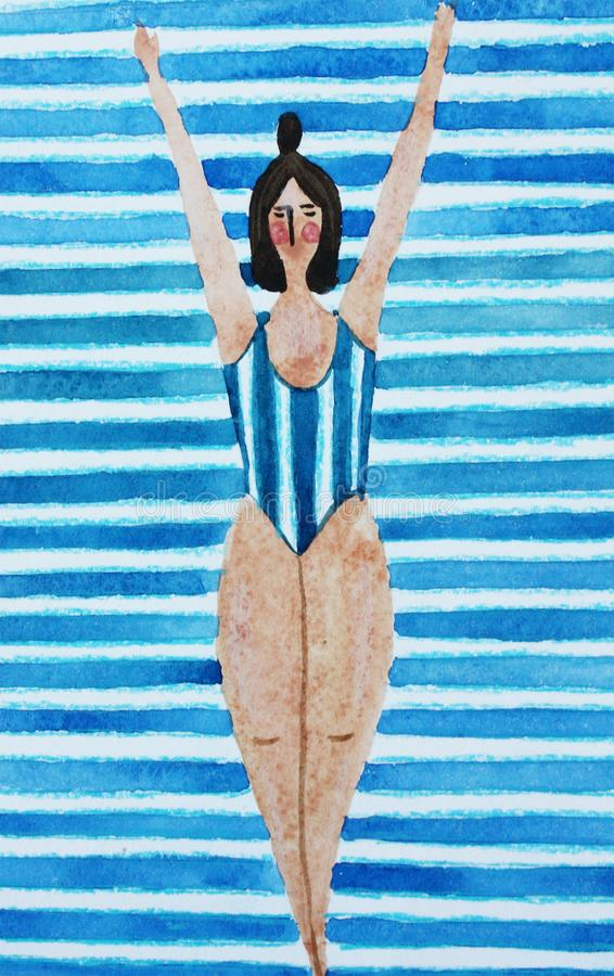Illustration with a girl in a blue striped swimsuit royalty free illustration