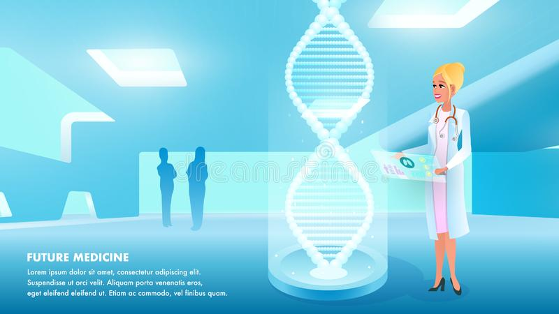 Illustration Girl Doctor Holds Hand Medical Card. Banner Future Medicine. Woman in Uniform Examines Result Study Analyzing Patient. Hologram Dna for Detailed vector illustration