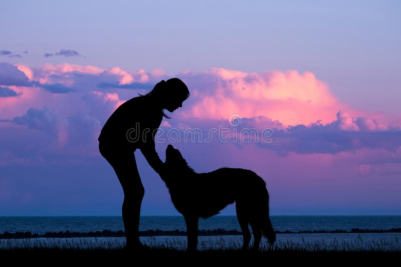 Girl with dog at sunset on the beach stock illustration
