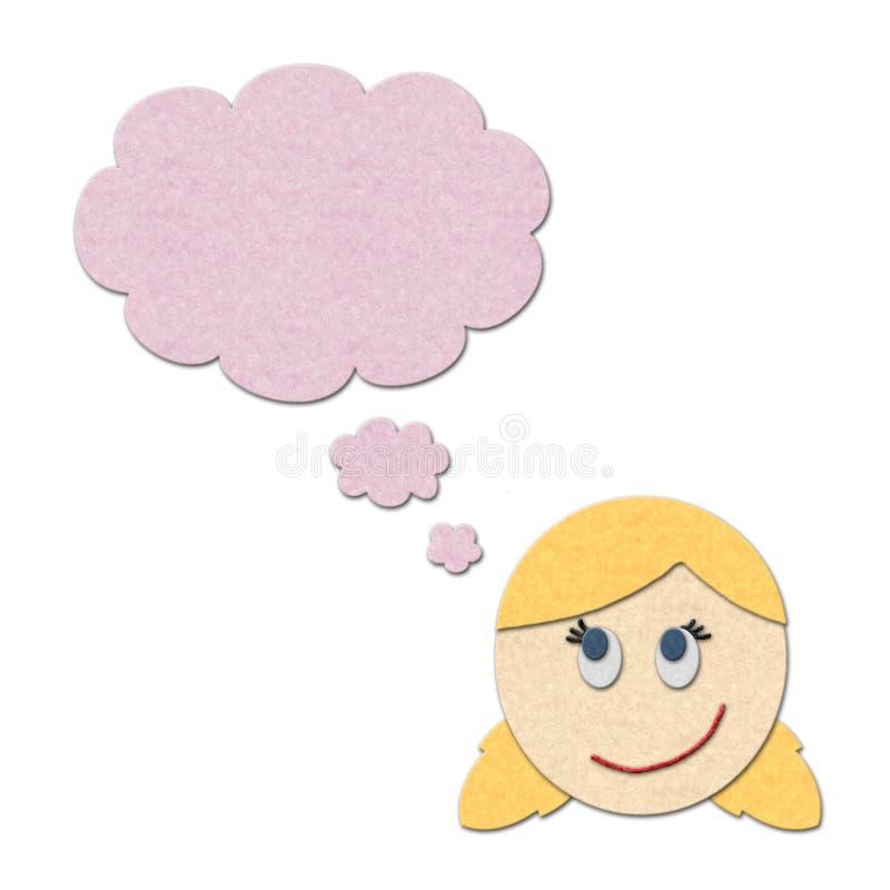 Illustration of a girl dreaming stock illustration
