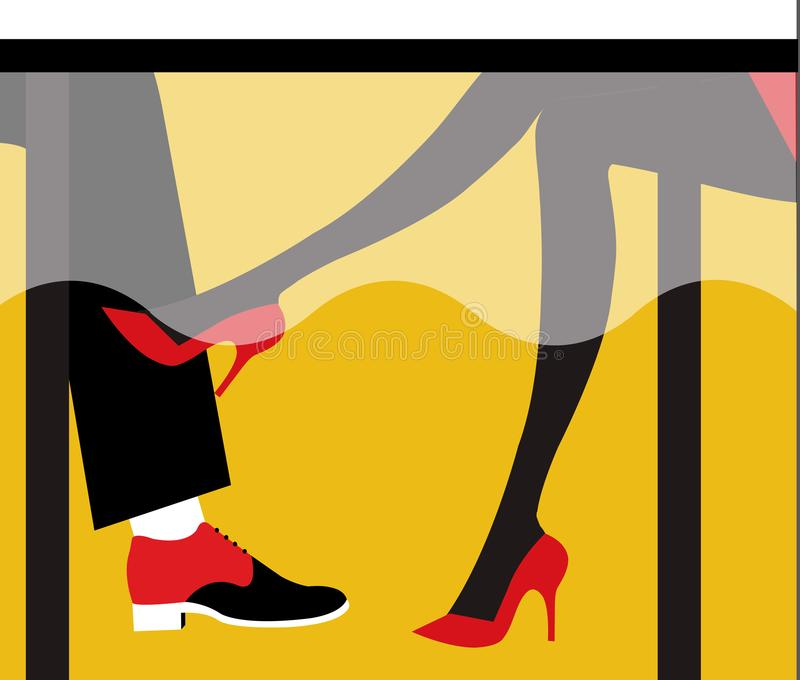 Illustration of a girl flirting with a man with her legs under the table. Having red shoes royalty free illustration
