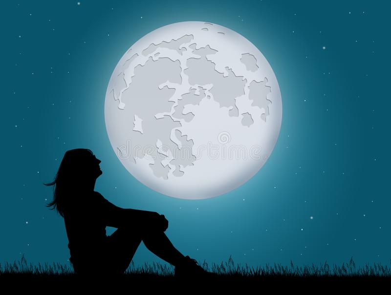Girl look the moon. Illustration of girl look the moon vector illustration