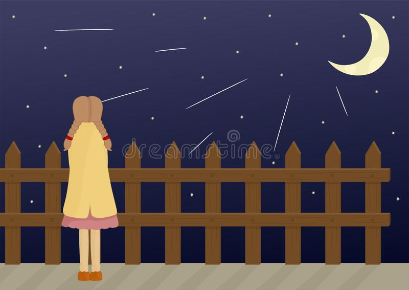 Illustration of a Girl Look at The Night Sky. Simple illustration of a girl look from back side and she is looking at the night sky. Vector image by pitripiter stock illustration