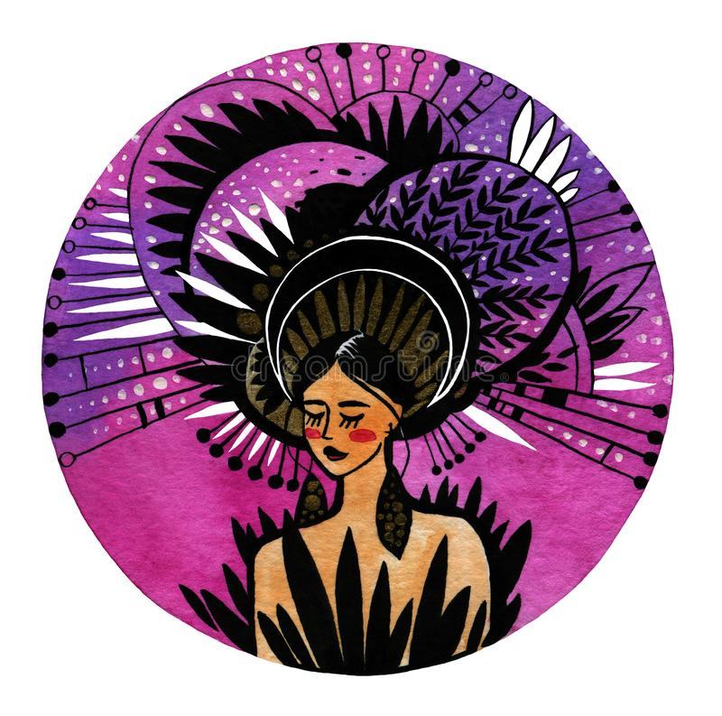 Illustration of a girl in a pink circle with an interesting hat.  stock photography