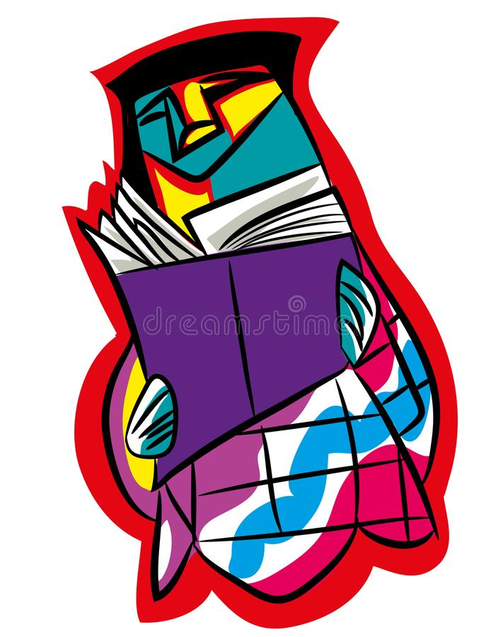 Illustration of girl reading a book -abstract. NnWoman reading a book,vector illustrationnnInteresting reading abstract drawing isolated with white backgroundn vector illustration