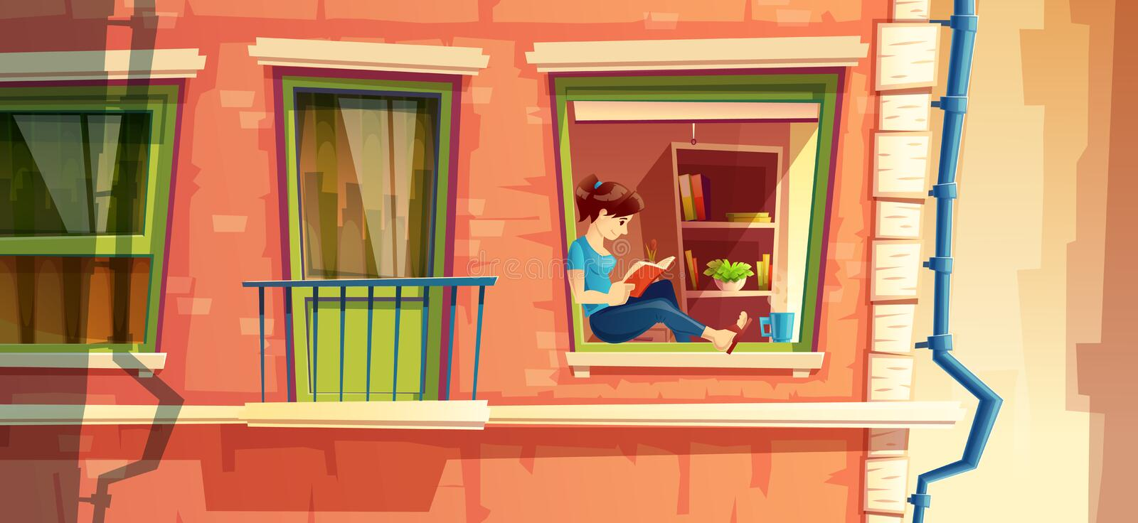 illustration of girl reading the book on the window of multistorey apartment, building outside concept, cityscape stock illustration