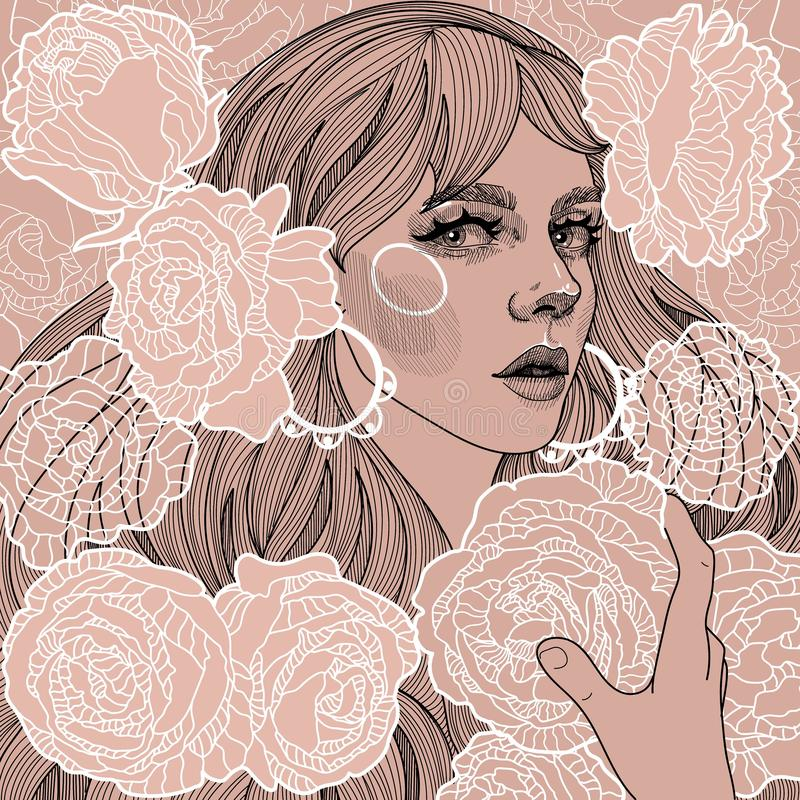 Illustration of a girl with roses royalty free stock photography