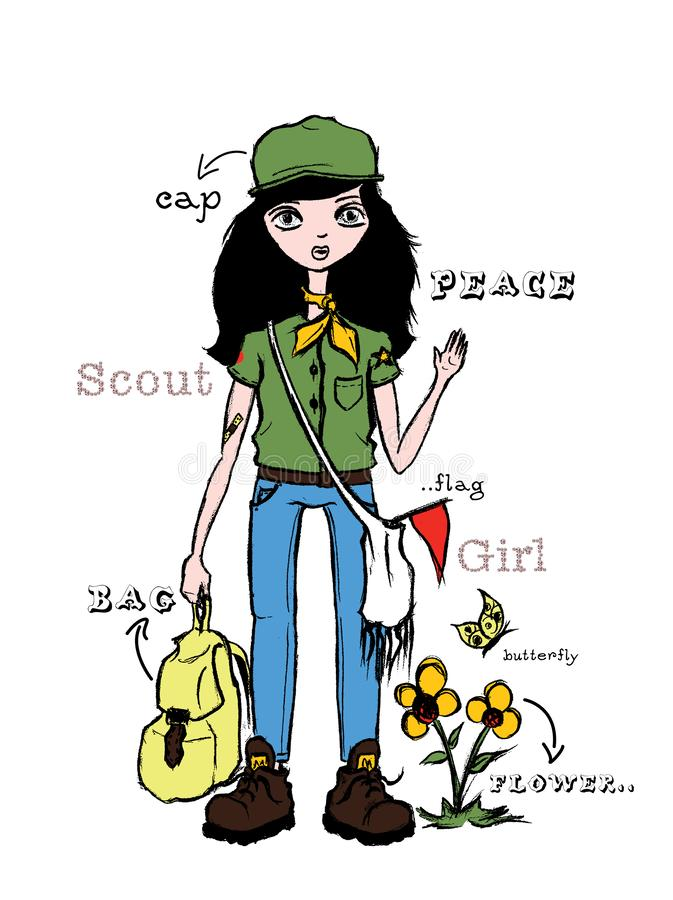 illustration of girl scout, t-shirt graphic royalty free illustration