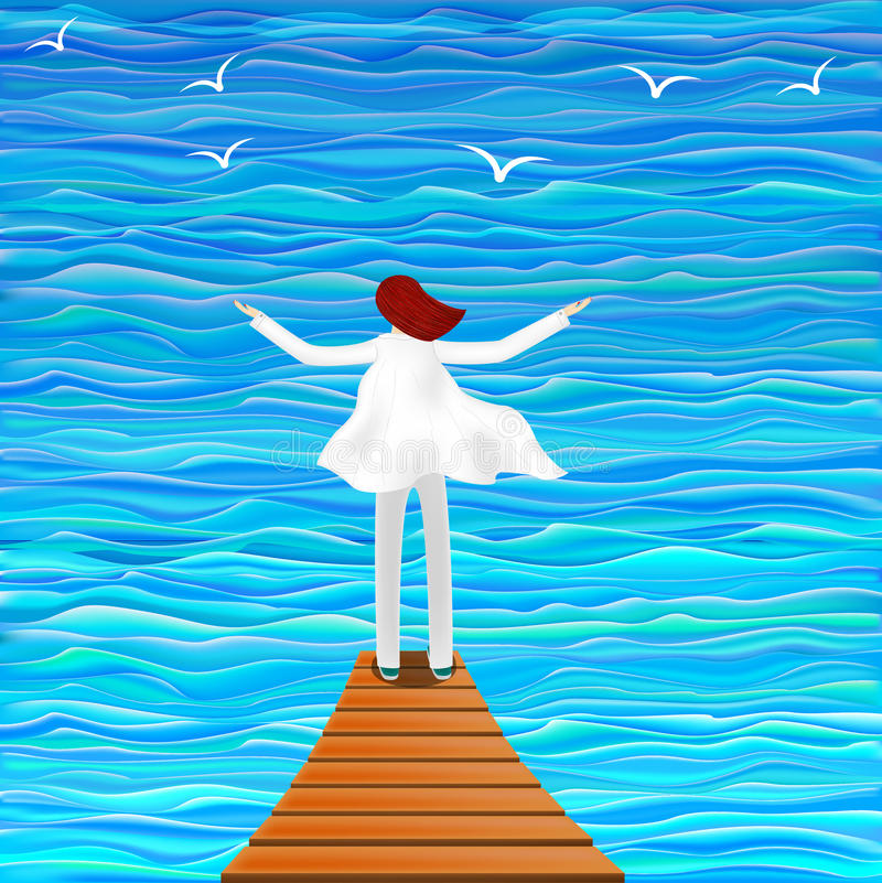 Illustration of a girl by the sea. Opening her arms for the fresh air stock illustration