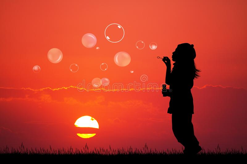 Girl with soap bubbles at sunset vector illustration