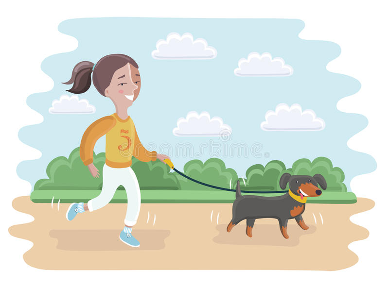 Illustration of a Girl Taking Her Dog for a Walk royalty free stock photo