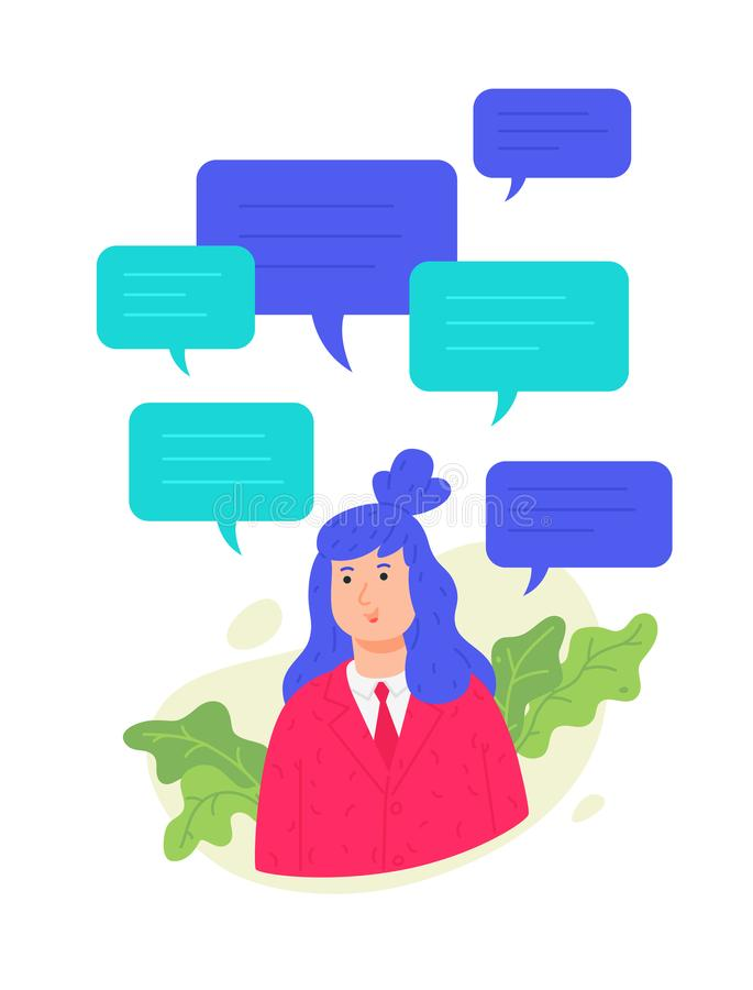 Illustration of a girl with text messaging. Vector. Woman in a pink jacket with comic bubbles. User profile for the site. Conversa. Tion in the messenger. Women` vector illustration