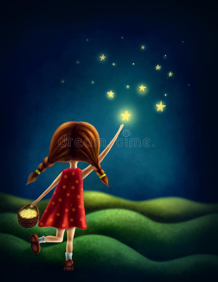 Girl trying to catch a star. Illustration of a girl trying to catch a star stock illustration