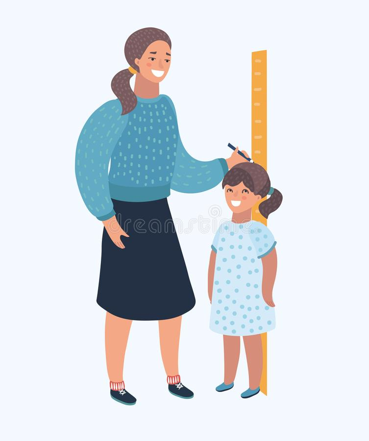 Illustration of a girl on white. Vector cartoon illustration of a Mom Measuring the Current Height of Their daughter. Human modern character on isolated royalty free illustration