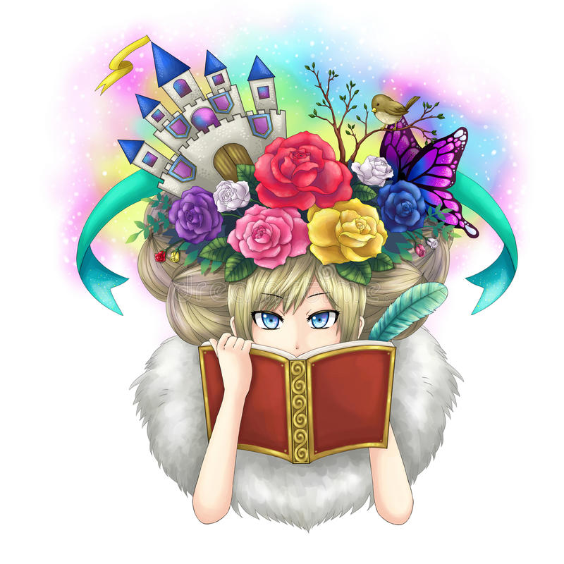Illustration of a girl writing fantasy novel book while her imagination growing on her head or maybe she is a goddess writing her vector illustration