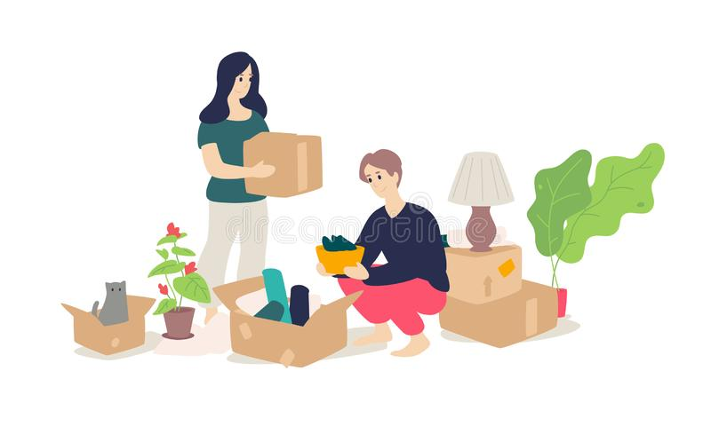 Illustration of a girl and a young man unpacking household items. Vector. Flat cartoon style. Moving to a new apartment. Cargo. Delivery. Husband, wife and cat stock illustration