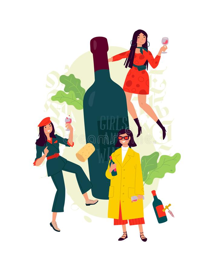 Illustration of girls with a glass of wine around the bottle. Vector. Women celebrate the holiday, have fun and relax. Party all n. Ight March 8th. Slightly vector illustration