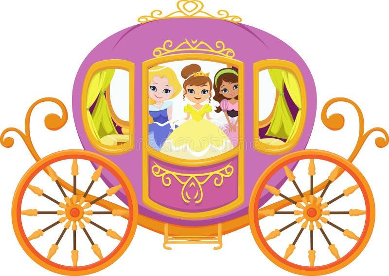 Illustration glücklicher Prinzessin mit königlicher Kutsche vektor abbildung