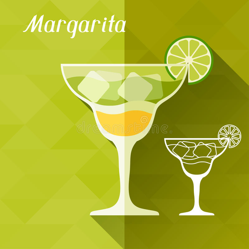 Illustration with glass of margarita in flat stock illustration