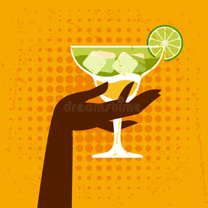 Illustration with glass of margarita and hand.  stock illustration