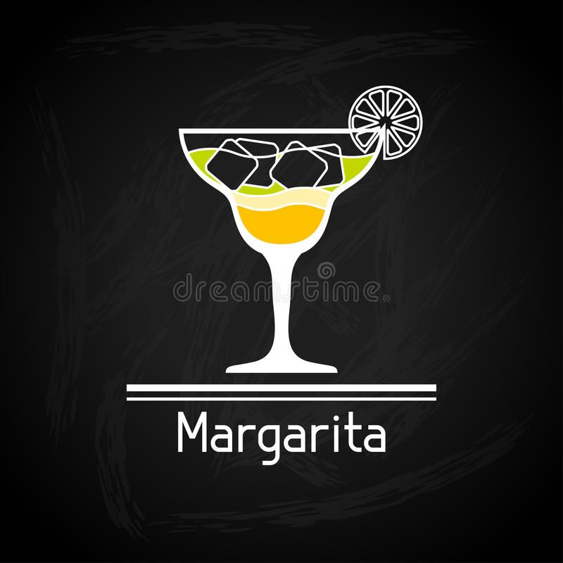 Illustration with glass of margarita for menu. Cover stock illustration
