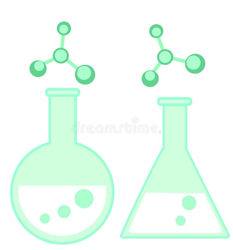 Illustration of a glass used in chemistry. Illustration of a glass and molecules - attributes of chemistry subject royalty free illustration