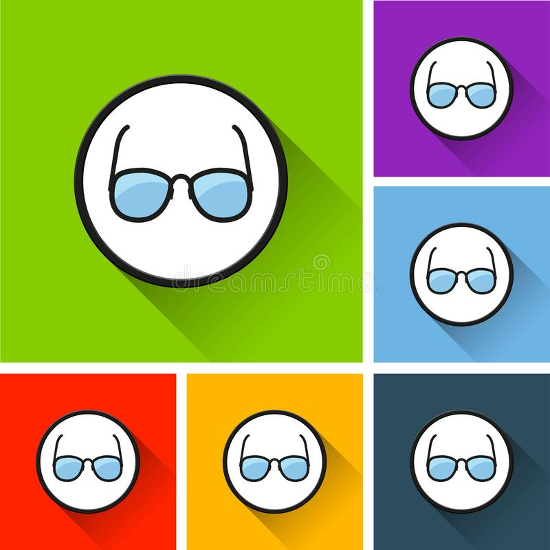 Glasses icons with long shadow stock illustration