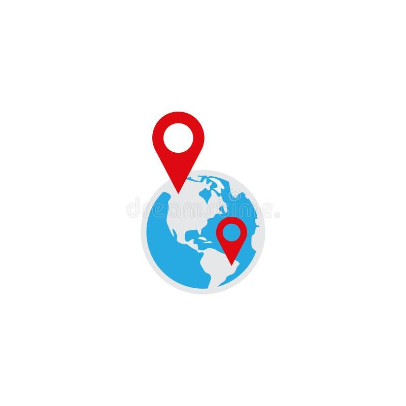 Illustration of globe pin logo icon design template. Vector royalty free illustration