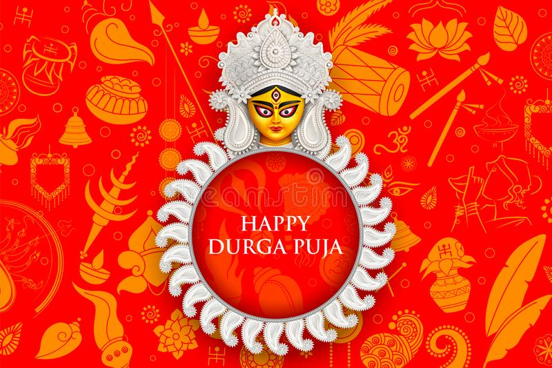 Goddess Durga Face in Happy Durga Puja Subh Navratri background. Illustration of Goddess Durga Face in Happy Durga Puja Subh Navratri background vector illustration