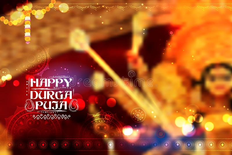 Goddess Durga in Happy Dussehra background with bengali text Sharod Shubhechha meaning Autumn greetings. Illustration of Goddess Durga in Happy Dussehra royalty free illustration