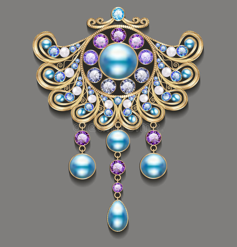 Illustration gold brooch with pearls and precious stones. stock illustration
