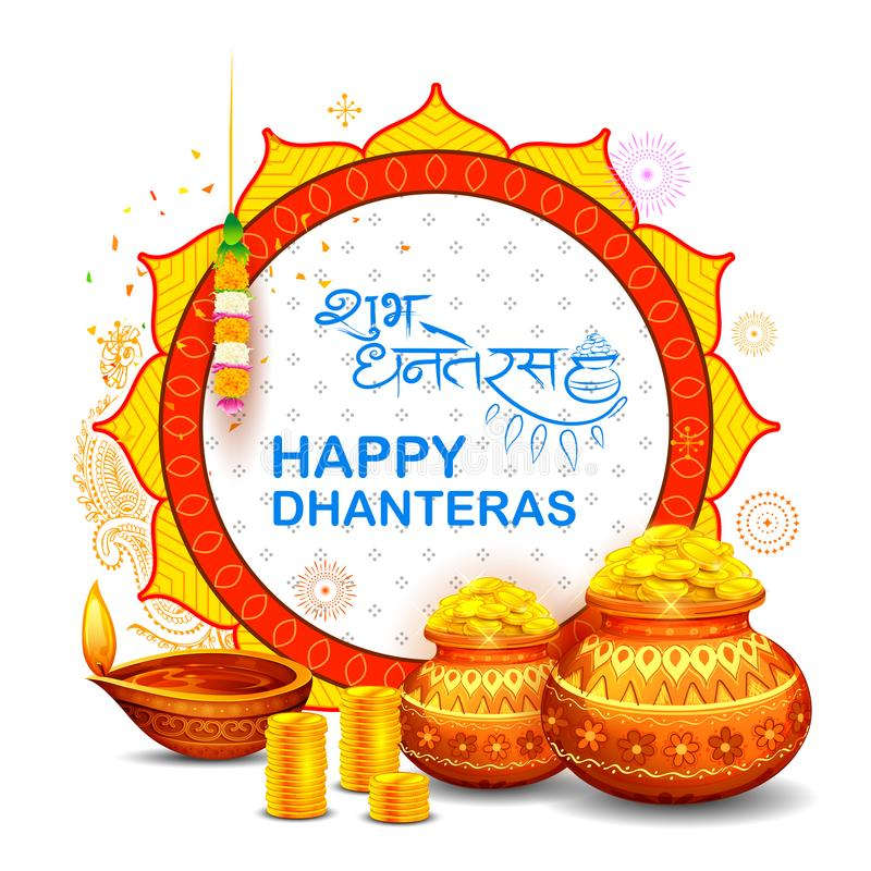 Gold coin in pot for Dhanteras celebration on Happy Dussehra. Illustration of Gold coin in pot for celebration on Happy Dussehra light festival of India royalty free illustration