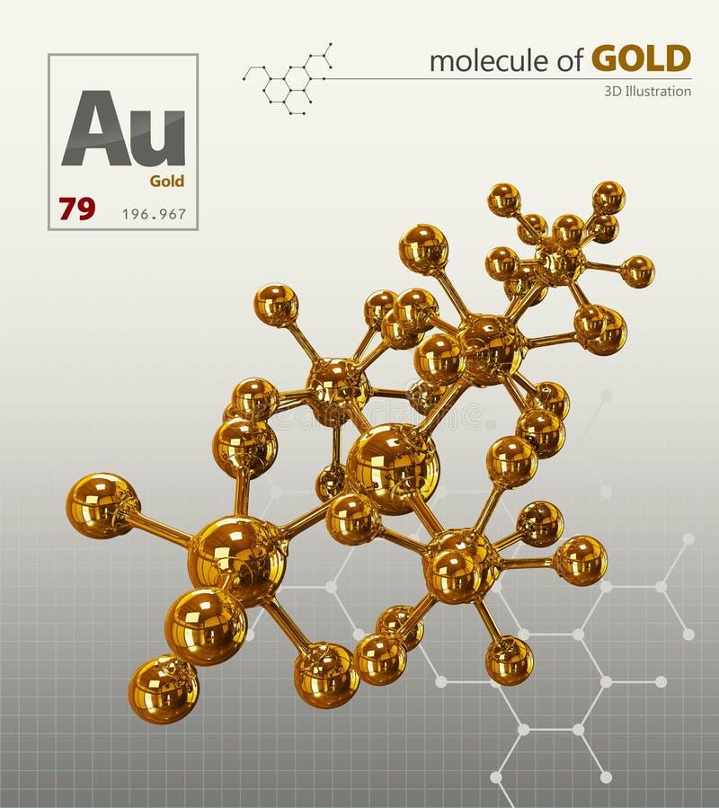 Illustration of Gold Molecule isolated white background. 3d Illustration of Gold Molecule isolated white background stock images