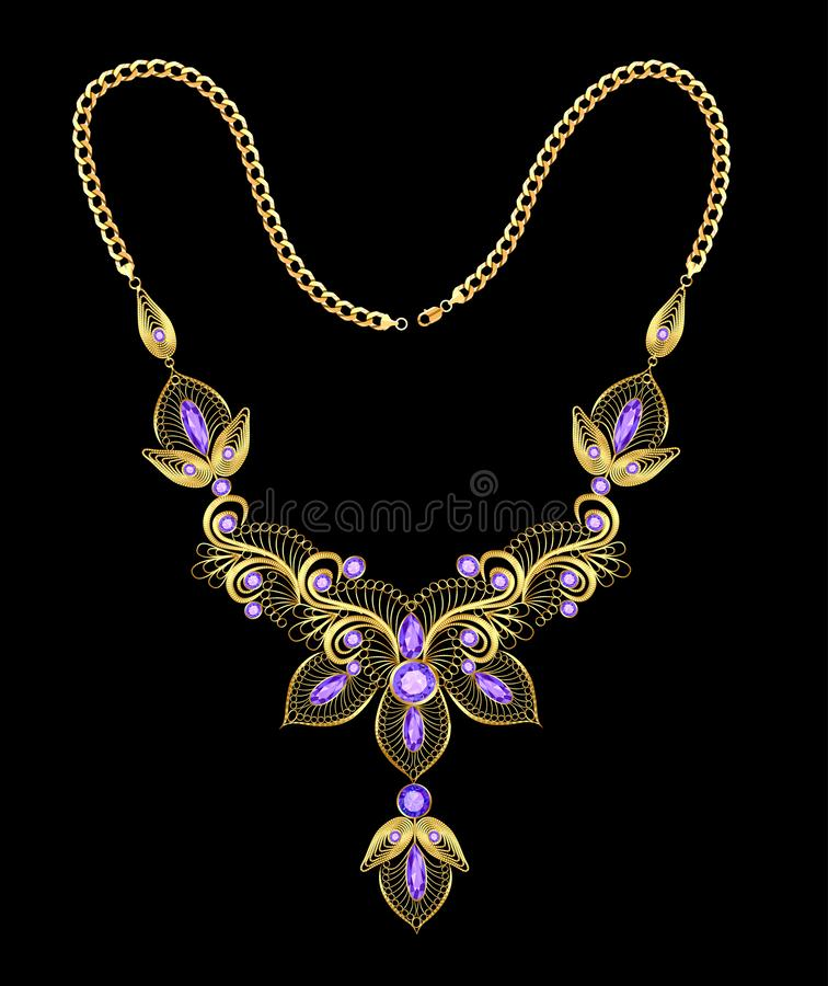 Gold necklace with filigree and precious stones. Illustration of a gold necklace with filigree and precious stones stock illustration