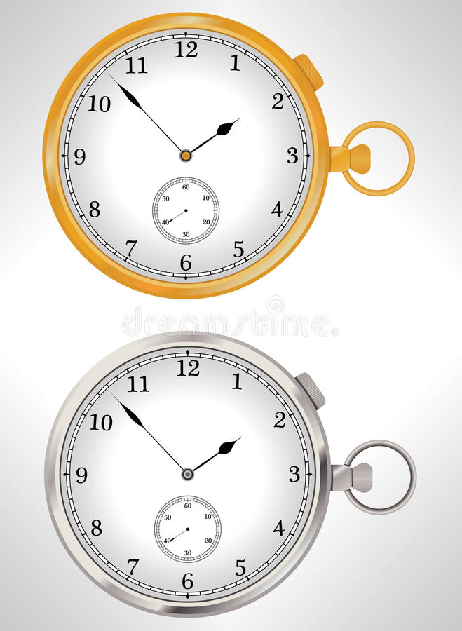 Illustration of gold and silver pocket watches vector illustration