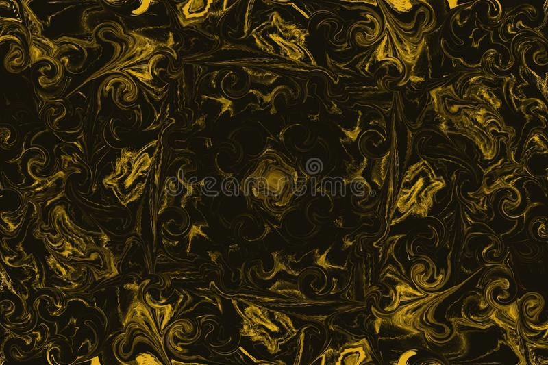 Illustration of golden abstract flowers on a black background vector illustration