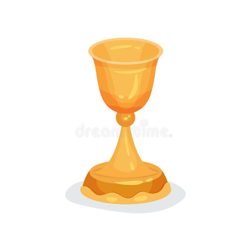 Flat vector icon of golden chalice used in Christian ceremonies. Liturgical vessel for sacramental wine or holy royalty free illustration