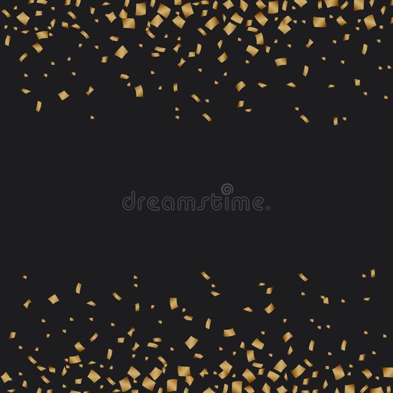 Golden confetti luxury festive on black background stock illustration