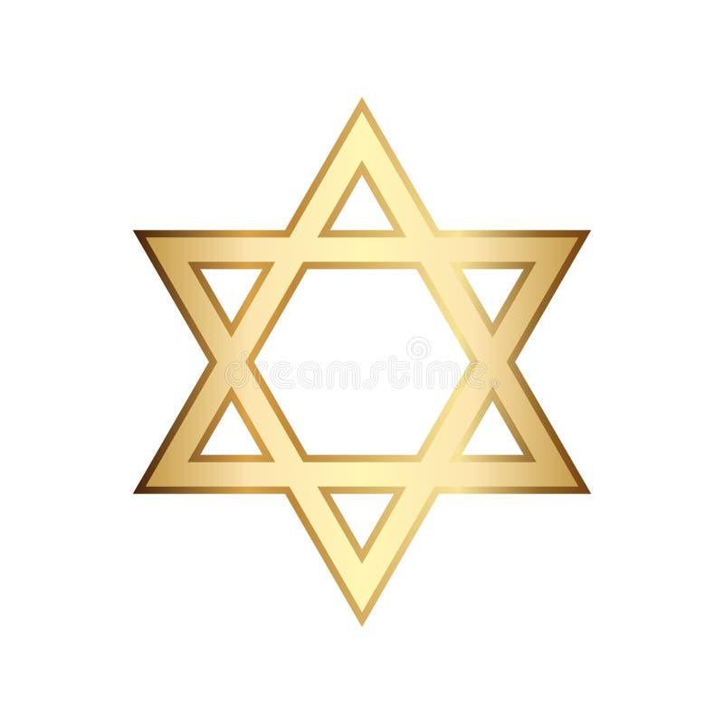Illustration of golden Magen David star of David stock illustration