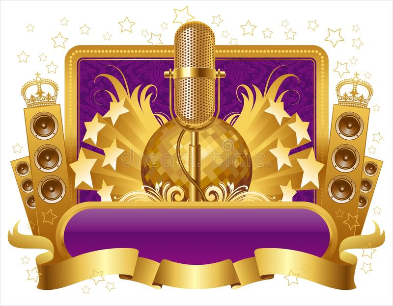 Illustration with golden musical objects vector illustration