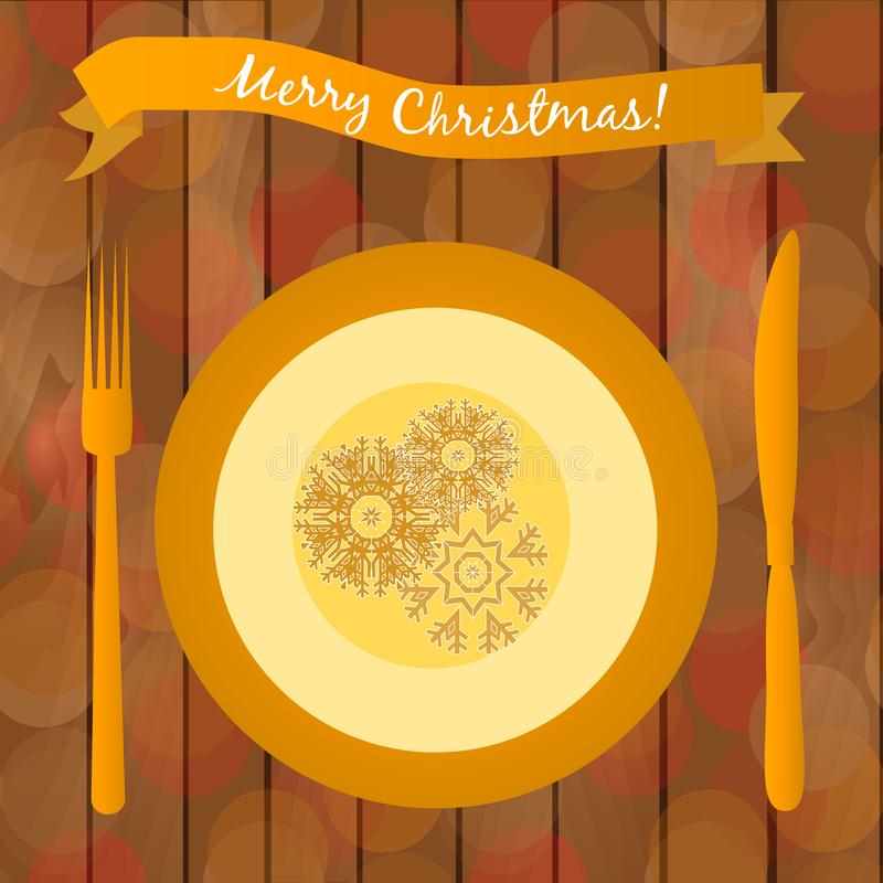 Illustration with golden plate on the table. Christmas dinner table. stock illustration