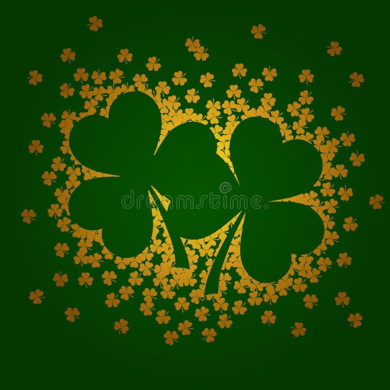 Vector illustration with golden shamrocks on green background. Illustration with golden shamrocks on green background vector illustration