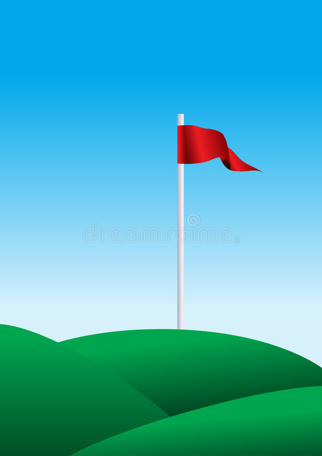 Illustration of a golf flag. Illustration with a golf flag on green field stock illustration