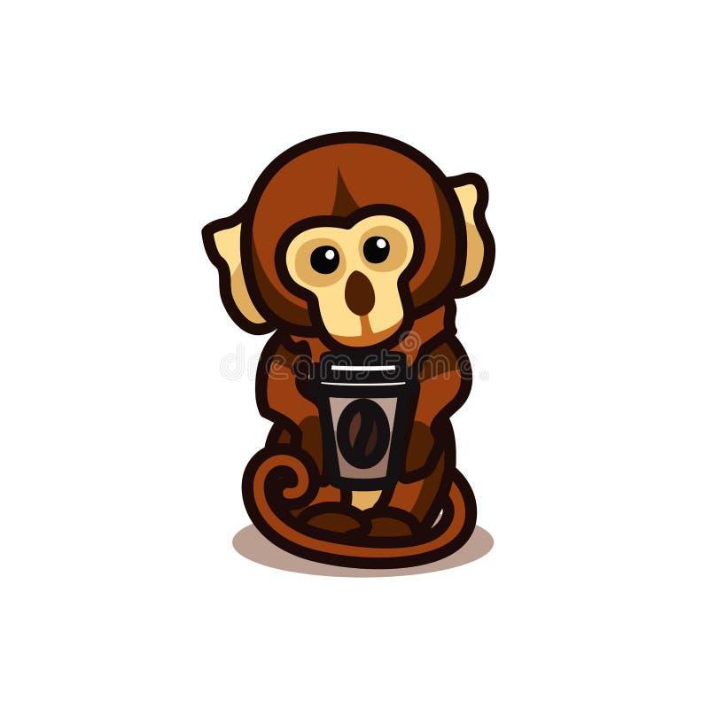 Gorilla monkey drinking coffee stock photography