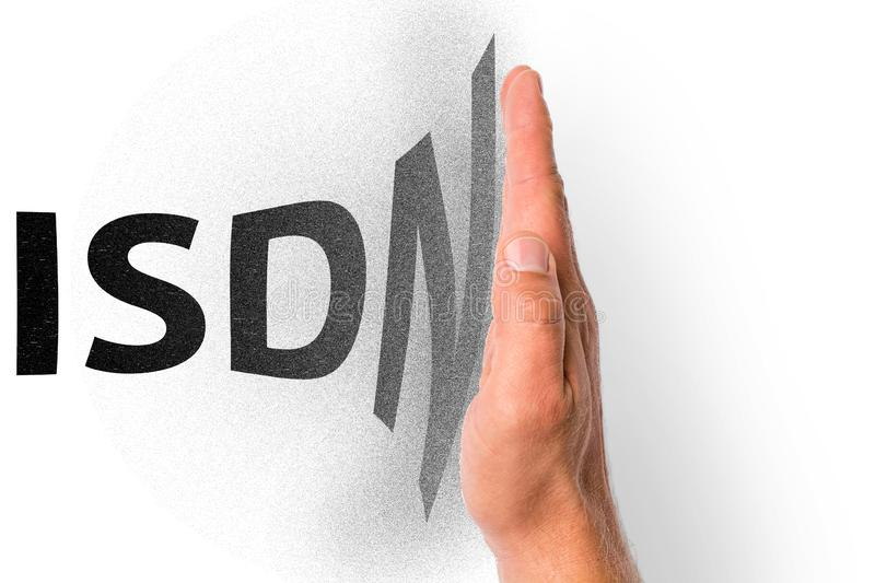Illustration for the gradual shutdown of the ISDN technology. The word ISDN, which pains on a raised hand, in front of white background stock image