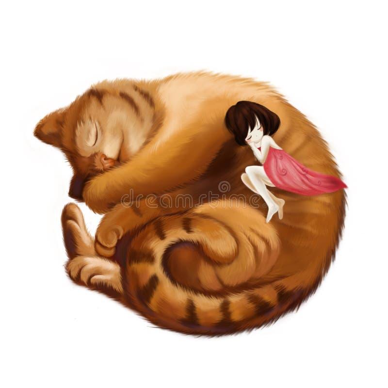 Illustration : Grande Cat Sleeps dans une boule et la petite fille dort avec lui ensemble illustration libre de droits