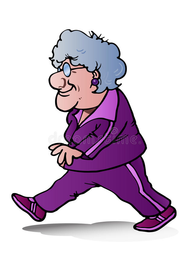 Download Grandma jogging stock illustration. Illustration of aspirations - 30186327