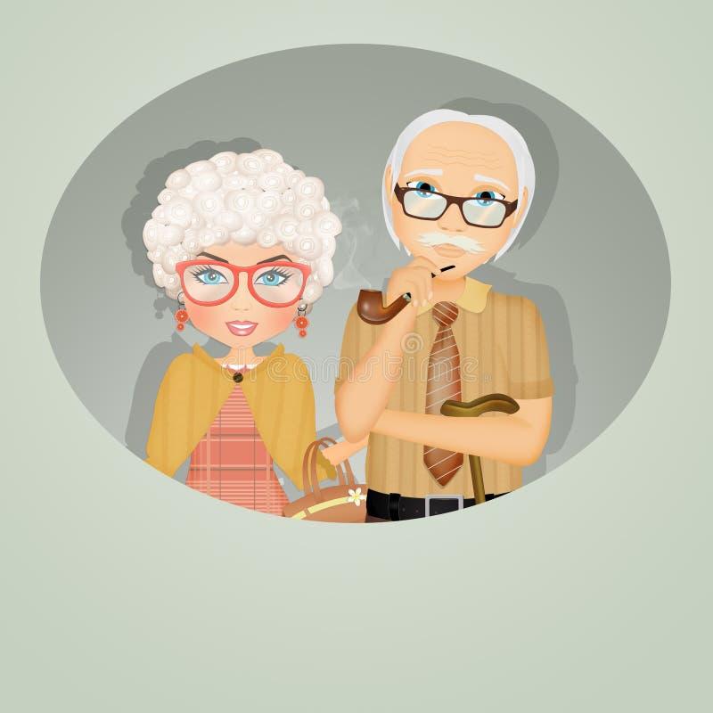 Illustration of grandparents. Funny illustration of grandparents day vector illustration